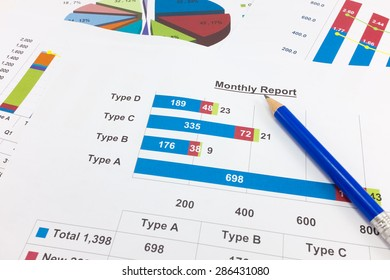 Financial paper charts and graphs point to Monthly report.