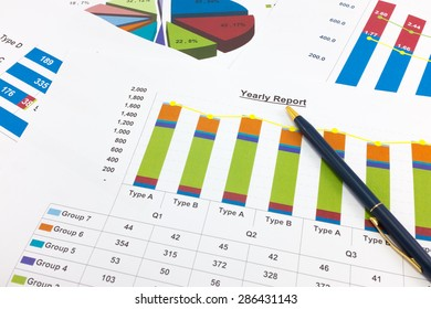 Financial paper charts and graphs point to Yearly report.
