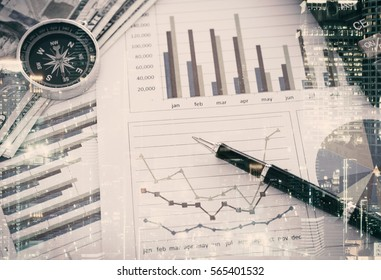 financial planning concept. double exposure charts and graphs business showing the results of successful financial planning.