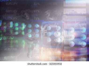 Financial planning and risk concept. Blurred image of transparent dice and forex quotes on display.