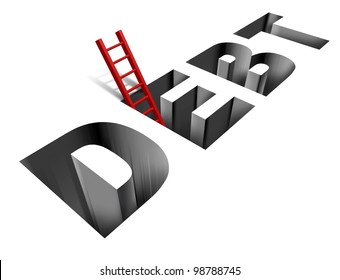Financial recovery and getting out of poverty with the word debt as a sinking hole in the ground and a red ladder as a helpful solution and answer to the finance and business problems on white.