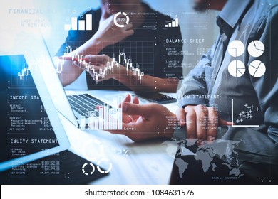 Financial report data of business operations (balance sheet and income statement and diagram) as Fintech concept.Business team meeting. Photo professional investor working new start up project.