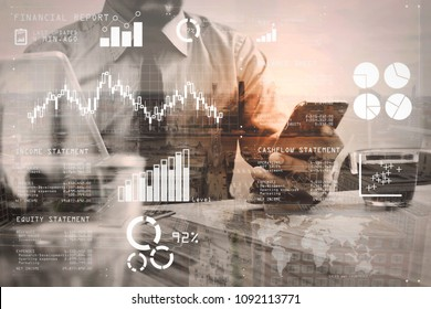 Financial report data of business operations (balance sheet and income statement and diagram) as Fintech concept.Double exposure of success businessman using smart phone,digital tablet.