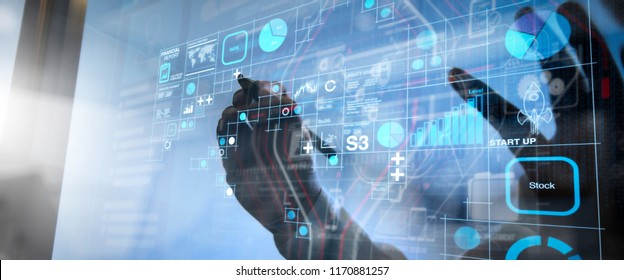 Financial report data of business operations (balance sheet and income statement and diagram) as Fintech concept.businessman hand working with modern technology and digital layer effect as business