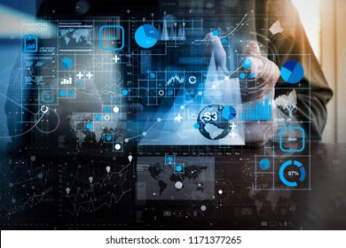 Financial report data of business operations (balance sheet and income statement and diagram) as Fintech concept.businessman hand working with modern technology and digital business strategy concept