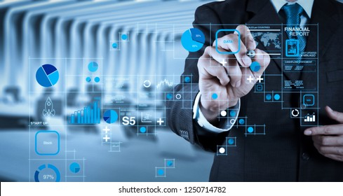 Financial report data of business operations (balance sheet and income statement and diagram) as Fintech concept.businessman hand writing in the whiteboard or virtual screen