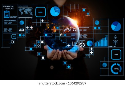 Financial report data of business operations (balance sheet and income statement and diagram) as Fintech concept.Businessman showing the globe world.Element by NASA.