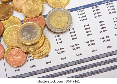 Financial report with heap of coins
