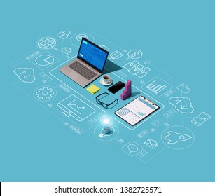 Financial report on a laptop screen and abstract network of business icons, business management concept