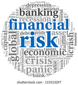 Financial risk concept in info-text graphics on white background