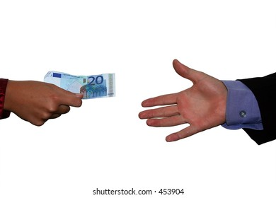 Financial scene: one hand (with business sleeve) reaching out to another hand with a banknote.