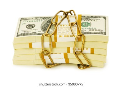 Financial security concept - padlock and dollars on white