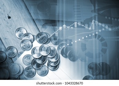 "FINANCIAL SERVICE concept with Data analyzing in Forex, Commodities, Equities, Fixed Income and Emerging Markets. the charts and summary info show about ""Business statistics and Analytics value""."