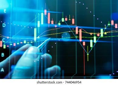 """FINANZDIENST-Konzept mit Datenanalyse in Forex, Commodities, Aktien, Fixed Income und Emerging Markets. die Diagramme und die Kurzinfo zeigen """"Unternehmensstatistik und Analysewert""""."""