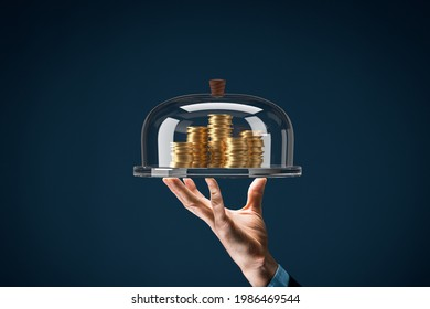 Financial services concept. Financial advisor or employee of the bank providing a loan represented by coins of money.