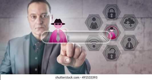 Financial services professional falling victim to a Man-in-the-Browser attack. Computer security concept involving internet fraud, hacking, social engineering, trojan horse and web security exploits.
