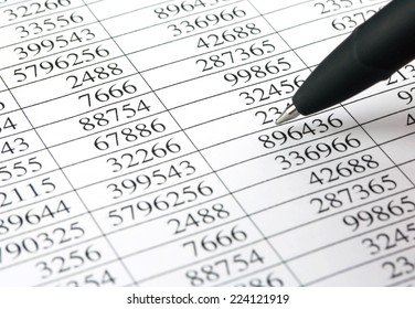 Financial statement with numbers and pen indicates the number of