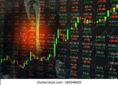 financial statistic stock market indices analysis on LED with candlestick graph and  indicators mixed with business man background. stock market finance index, business concept.