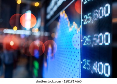 Financial stock exchange market display screen board on the street