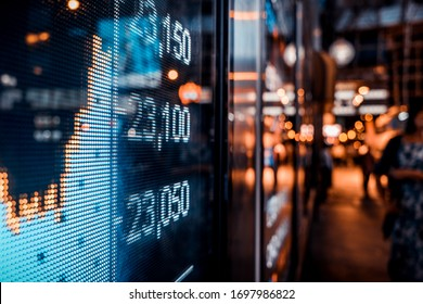 Financial stock exchange market display screen board on the street, selective focus - Shutterstock ID 1697986822