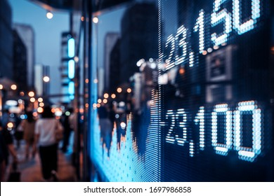 Financial stock exchange market display screen board on the street, selective focus