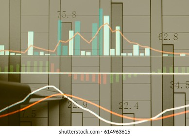 Financial stock market in accounting market economy. financial cost concept. Digital stock exchange trade cost background. Double exposure stock financial indices on currency exchange.