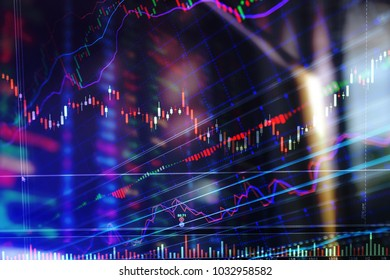 financial stock market graph chart of stock market investment trading screen