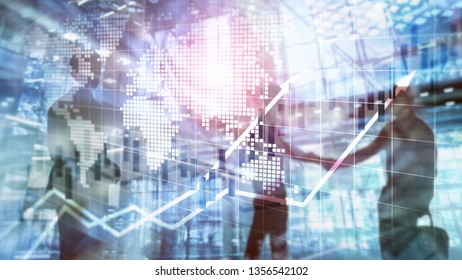 Financial Stock Market Graphs Candle Chart ROI Return On Investment Business Concept. - Shutterstock ID 1356542102