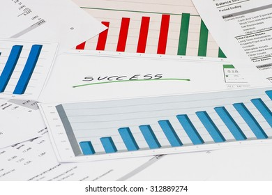 Financial success with charts and graphs