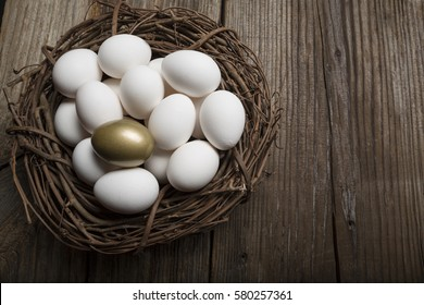 Financial Success finding the Golden Egg and standing out from the crowd on wood background