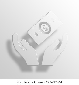 financial support 3D Paper Icon Symbol Business Concept