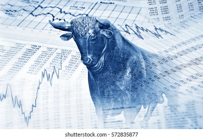 Financial symbols and bull stand for success in the stock market