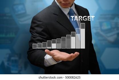 Financial symbols growing up to target