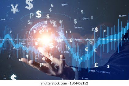 Financial technology concept. Fintech. Crypto currency. Electronic money. Cashless payment. Modern Monetary Theory.