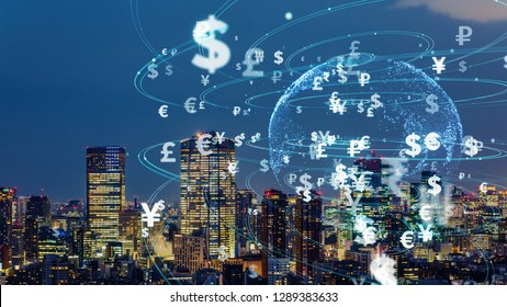 Financial technology concept. FinTech. Foreign exchange.