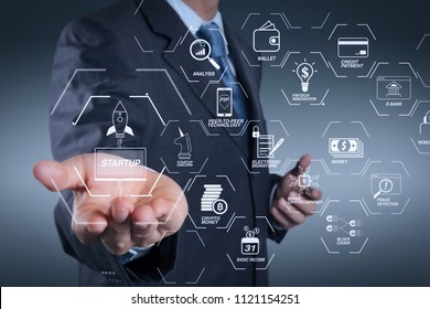 Financial technology flowchart and basic income mining cryptocurrency with blockchain startup unicorn crypto money virtual diagram. business man with an open hand as showing something concept