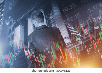 Financial Trader Concept. Global Economy and Financial Conceptual Illustration with Young Trader In Front of Stock Market Building.