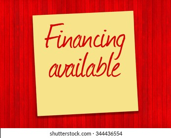 Financing Available text on yellow sticky note and red background