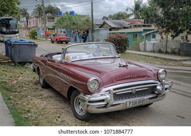 FINCA VIGIA, CUBA - January 4, 2018: Vintage classic car parked on the street.
