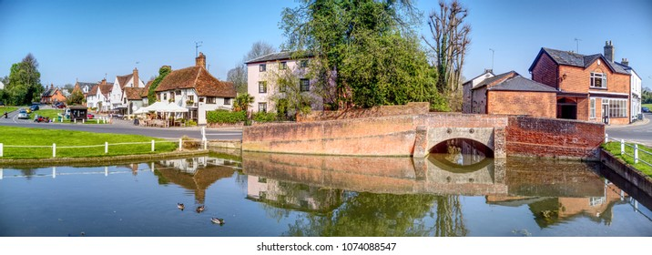 Finchingfield pond and bridge - Village in Essex near Braintree