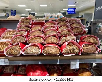 FINCHLEY ROAD, LONDON - FEBRUARY 20, 2019: Sourdough bread on sale inside Waitrose supermarket on the Finchley Road, North London, UK.