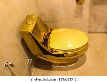 Find aflush toilet bathroom with gold, ventilators, draining things, gradual flow, drainage, waste, waste, a few minutes.