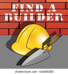 Find A Builder Hat Represents Contractor Search 3d Illustration