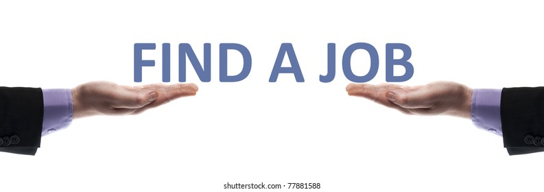 Find a job message in male hands