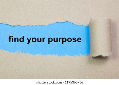 find your purpose text on paper. Word find your purpose on torn paper. Concept Image.