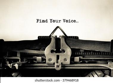 Find Your Voice message typed on vintage typewriter