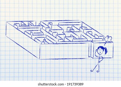 find your way and a solution to problems: maze metaphor design