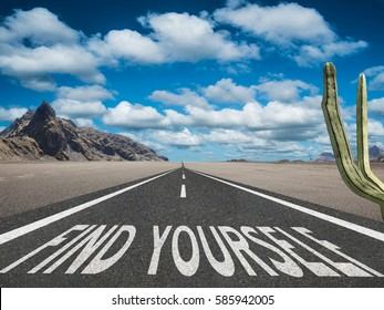 Find Yourself inspirational quote on journey path
