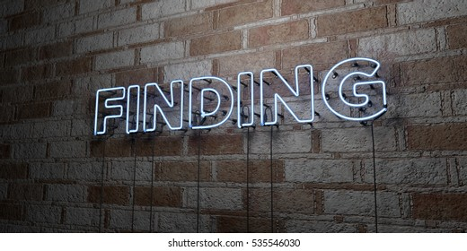 FINDING - Glowing Neon Sign on stonework wall - 3D rendered royalty free stock illustration.  Can be used for online banner ads and direct mailers.