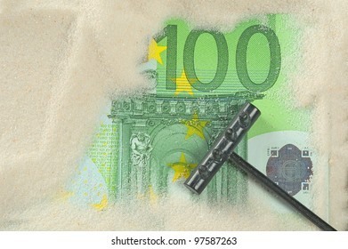 Finding hundred euros in the sand